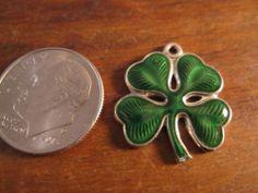 Vintage Sterling Silver Wells Top Hat 4 Leaf Clover Enamel Irish Lucky Charm L | eBay