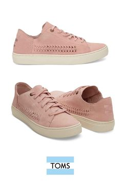 TOMS Pale Pink Suede Women's Lenox Sneakers. Minimal structure and unlined suede keep these low-tops lightweight and flexible with a woven side detail for extra flair.