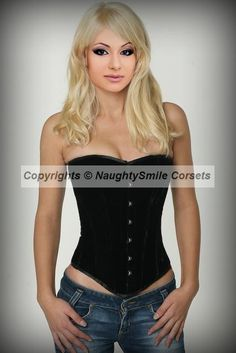 Black Velvet Overbust Authentic Steel Boned Corset NSCE-1314 helps to reduce your waist size up to 4 inches. Velvet Corset  http://www.organiccorsetusa.com/  WANT! <3