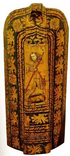 Pavise, with St.George and the Dragon (Historisches Museum der Stadt Wien) -- Published: Wehrhafte Stadt: Das Wiener Buergerliche Zeughaus im 15. und 16. Jahrhundert.