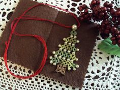Tatting  Needle Tatted Christmas Necklace by sewingnanac on Etsy