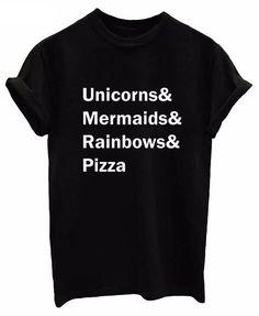 Unicorns & Mermaids & Rainbows & Pizza Print Short-Sleeved T-Shirt