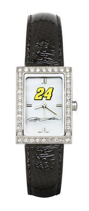 LogoArt Jeff Gordon Ladies Allure Black Leather Watch - Jeff Gordon Each by Anderson. $70.99. Accessorize your outfit with this Jeff Gordon ladies Allure black leather watch from LogoArt(r). It's designed with the driver's replica signature and car number displayed on the genuine mother-of-pearl dial. The water-resistant watch is powered by a Miyota(r) quartz movement for accurate time keeping and accented with a case that's adorned with 40 cubic zirconia stones.