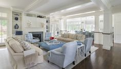 Note surrounding fireplace, enclosed TV book shelves to the ceiling, different furniture arrangement via SSD