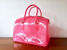 Pink Plastic Purse / Hot Pink Top Handle Bag / Semi Transparent Shiny Pink Plastic Satchel / Large Pink Handbag / Bright Pink Clear Handbag by ShopRachaels on Etsy https://www.etsy.com/listing/507558199/pink-plastic-purse-hot-pink-top-handle
