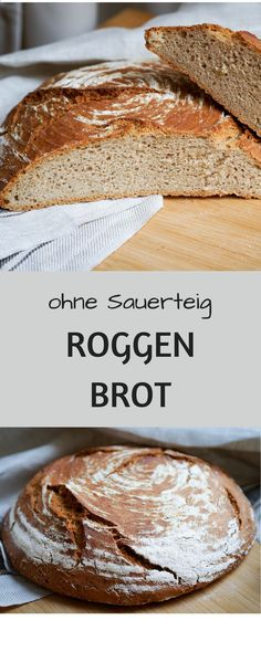 Dieses Bauernbrot mit Roggenanteil ganz ohne Sauerteig können auch Backanf… This farmer's bread with rye without any sourdough can also be easily baked by beginners! Pizza Recipes, Bread Recipes, Baking Recipes, Vegan Recipes, Sourdough Recipes, Baking Muffins, Bread Baking, Rye Bread, Sourdough Bread