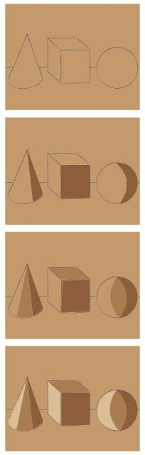 Art Projects for Kids: How to Shade 3D Objects (without a light source) teaching the logic