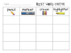Kindergarten Sight Word Center FREEBIES!