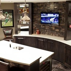 Basement Design Ideas, Pictures, Remodels and Decor Stone back against TV?