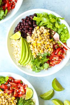 Mexican Street Corn Bowls - Mexican elote is served up right in these hearty bowls with whole grains, pico de gallo, black beans, avocado and so much more! Mexican Salads, Vegetarian Mexican, Vegetarian Recipes, Healthy Recipes, Yummy Recipes, Protein Recipes, Healthy Eats, Recipies, Dinner Recipes