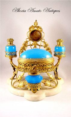 Fabulous LARGE French 19th Century Blue Opaline perfume set comprising of 2 Blue Opaline perfume bottles with eglamise(reverse painting on g...