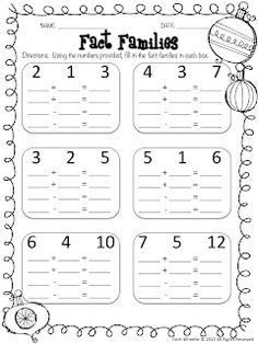 first grade worksheet turn around facts fact families  education  &