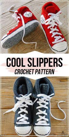 crochet Cool Crochet Slippers pattern - easy crochet slippers pattern for beginners Easy Crochet Slippers, Crochet Socks, Crochet Clothes, Crochet Stitches, Knit Crochet, Crochet Slipper Boots, Converse En Crochet, Converse Slippers, Crochet Shoes Pattern