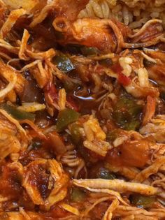 pulled chicken with jalapenos, garlic , onions and tomatoes