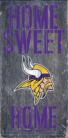 Minnesota Vikings Wood Sign  Home Sweet Home 6x12 >>> Check out this great product. (Note:Amazon affiliate link)