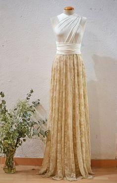 Romantische Spitze Hochzeitskleid Weißes Kleid Goldene von mimetik