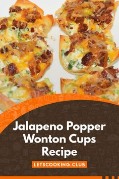 Jalapeno Popper Wonton Cups are our favorite appetizer, very easy to make, delicious and fun. Use bacon, cream cheese and cheddar cheese. Best Appetizer Recipes, Quick Appetizers, Quick Recipes, Quick Easy Meals, Dinner Recipes, Jalapeno Wonton Poppers, Wonton Cups, Jalapeno Recipes, 30 Minute Meals