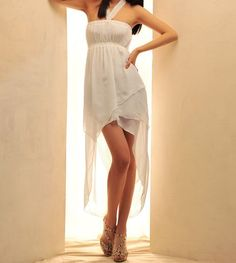 High Low Chiffon Maxi Halter Dress
