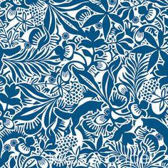 papel pintado flores y zorros azul, telas & papel