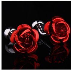 Red Rose Mens Cufflinks Cuff Links Mens Dress Wedding Crystal Cufflinks | eBay