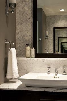 Guide to Choosing a bathroom vanity Master Bath Idea - Herringbone Tile, White, Grey, Dark Wood Vanity