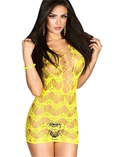 Adam's Temptation Women's Yellow Interlace Crocheted Lace Chemise Mini Dress (One Size). Private Bedtime, Sexy, Exotic Dancewear. Sleeveless, Hollow Out. Color: Yellow. One Size: Fits S, M, and L (See Size Chart). Package Includes: 1 x Chemise.