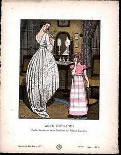 Child Evening Dress Summer Sage wonderful 1920 Gazette du Bon Ton fashion print