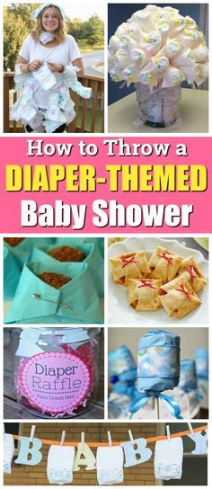 Tips and ideas for planning throwing and hosting a diaper-themed baby shower or diaper party for a pregnant mama friend! Recipes, party favors, decorations, diaper raffle, diaper banner, invitations, and more!