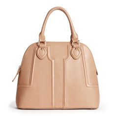Women's Taupe Vegan Leather Vegan Structured Dome Satchel | Marlow by Sole Society
