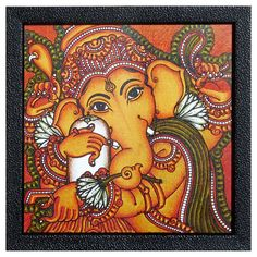 Lord Ganesha - Wall Hanging (Print on Laminated Board - Framed)