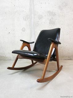 Vintage schommelstoel rocking chair Webe Louis van Teeffelen