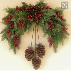 Winter Pine Swag Wreath by Ghirlande on EtsySwag with pineconesOhhh My Holiday Season Loooving Heart ♥️THIS is just Perfect for over our archway.Il piccolo Istrione - Welcome, Friends !Christmas decorations with pine cones. Christmas Swags, Noel Christmas, Holiday Wreaths, Rustic Christmas, Winter Christmas, Christmas Pine Cones, Primitive Christmas, Christmas Ornaments, Christmas Projects