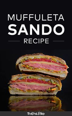 The muffuletta—that stacked beauty of Italian cold cuts, cheese and olive relish from the Big Easy—is one of the Great Sandwiches. It's also stupid easy to make for your next picnic. recipes for two recipes fry recipes Best Sandwich, Soup And Sandwich, Sandwich Recipes, Make A Sandwich, Chicken Sandwich, Muffuletta Recipe, Muffuletta Sandwich, Reuben Sandwich, Burritos