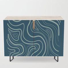 Simple hand drawn lines on dark blue Credenza by diana_ioana Office Cabinets, Bar Carts, Walnut Finish, Tv Stands, Birch, Mid-century Modern, Dark Blue, How To Draw Hands, Shelf