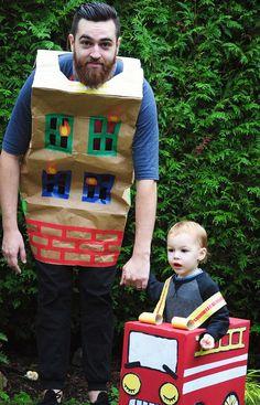 Cardboard Fire Truck Costume