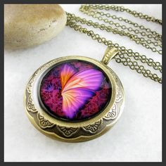 Purple Butterfly Brass Picture Locket Pendant Necklace