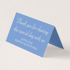 Floral Thank You Cornflower Blue Wedding Flower Place Card - floral gifts flower flowers gift ideas
