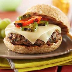 Fresh cilantro and grilled peppers make this turkey burger craveable.
