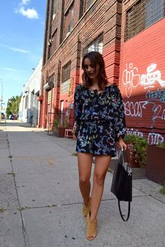 Cute floral romper + fringe booties for end of summer