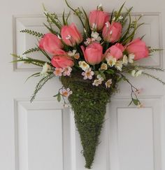 Moss Floral Arrangement for Door or Wall, Front Door Wreath, Tulips | PataylaFloralDesigns - Housewares on ArtFire