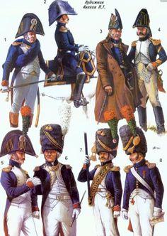 Ufficiali subalterni (5,1 e 7), ufficiali superiori (2,3,6 e 8) e sottufficiale (4) dei cacciatori a piedi della guardia imperiale francese