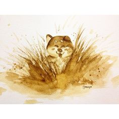 somebuddy is playin with the mud #shibainu #shiba #illustration #coffeepainting #coffeedrawing #coffeeart #design #drawing #doodles #painting #sketch #instaart #art #kopi #aikcheong #malaysiancoffee #柴犬