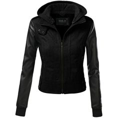 J.TOMSON Women's Wool Jacket With PU Leather Sleeves And Removable... ($35) ❤ liked on Polyvore