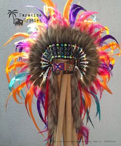 Full Rainbow Feather Headdress On Metallic Dark Gold Leather by ParadiseGypsies #headdress #festival #carnival