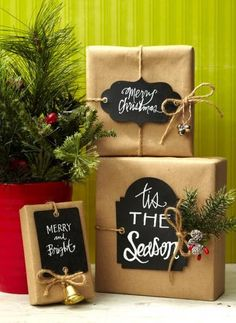 Easy Christmas Gift Wrapping Ideas - Easy Christmas Gift Wrapping Ideas - Midwest Living Easy Christmas Gift Wrapping Ideas Trendy chalkboard tags give just the message you want: www. Christmas Gift Wrapping, Best Christmas Gifts, Simple Christmas, Holiday Fun, Holiday Gifts, Christmas Holidays, Christmas Crafts, Christmas Decorations, Cheap Christmas
