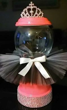 """Terra cotta pot,fish bowl"" bubble gum machine inspired candy dish..  ""Girly tutu"""