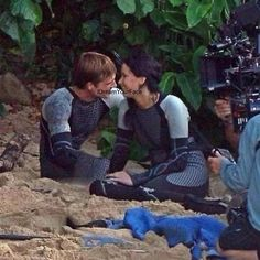 Josh and Jennifer during filming of Catching Fire!