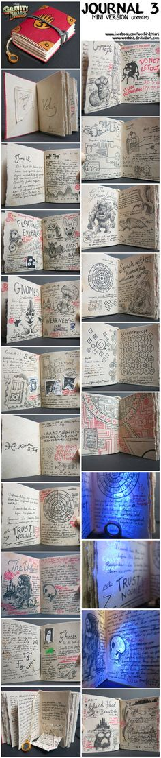 I created a mini version of Journal 3 from the amazing Gravity Falls tv show as a gift for a really good friend! This took me forever to complete as it is entirely handmade...leather cut, paper age...
