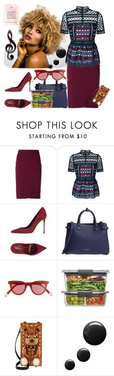 """""""Beauty is her calling"""" by fashionme ❤ liked on Polyvore featuring Givenchy, self-portrait, Sergio Rossi, Burberry, Gentle Monster, Rubbermaid, MCM and Topshop"""