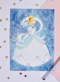 Print A4 Cinderella by MorganeBrretShop on Etsy